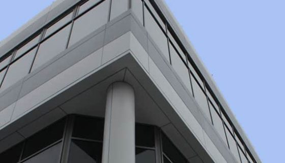 Commercial building with grey panels