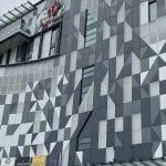 shaped aluminium panels in office building